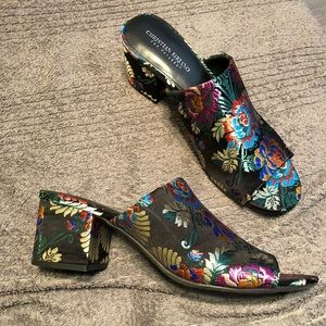 Floral open toed mules